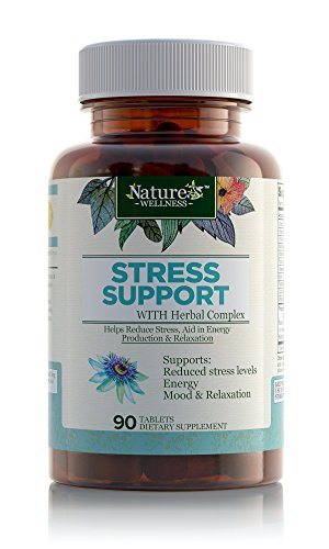 Stress Support with Herbal Extracts - 90 Count | Natural Support for Stress Relief and Relaxation | with Vitamins C, B Complex, PABA, Choline, and Herbals | Natural Anxiety Relief Supplement