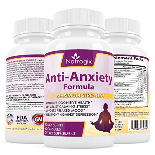 Natrogix Anti Anxiety Formula - Advanced Herbal Supplement Promotes Anxiety and Depression Relief. Natural Calm and Relaxation Aid, Mood Enhancer, Made in USA (60 Capsules).