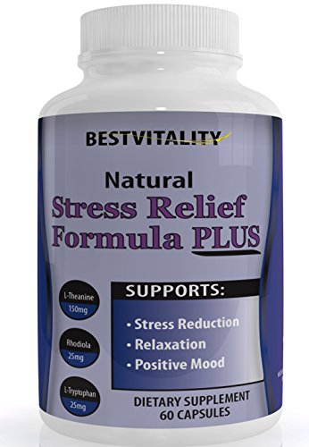 Bestvitality Premim Natural Homeopathic Stress, Panic and Anti Anxiety Relief Supplement (L-theanine - 150mg) Supports Mental Clarity 60 Vegetarian Capsules - Made in USA