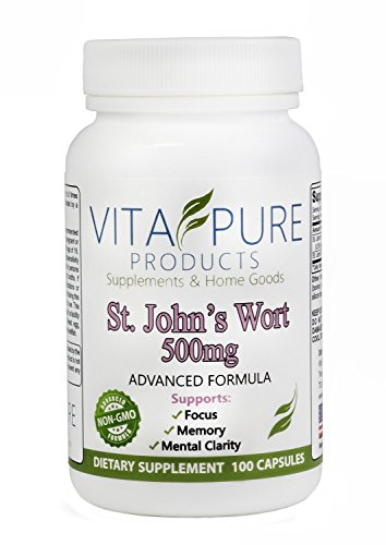 Premium Pure St John's Wort Supplement - Helps Memory, Mood & Much More - St John Wort 500mg - 100 Capsules - Made in the USA - 100% Satisfaction Warranty - FREE BONUS REPORT