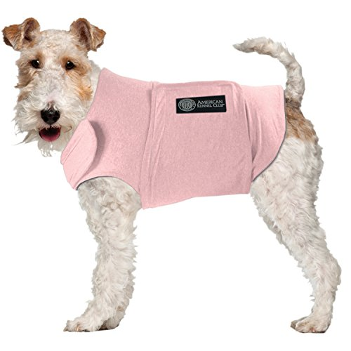AKC - American Kennel Club Anti Anxiety and Stress Relief Calming Coat for Dogs, Essential for Thunderstorm season and 4th of July Fireworks- Pink, Large