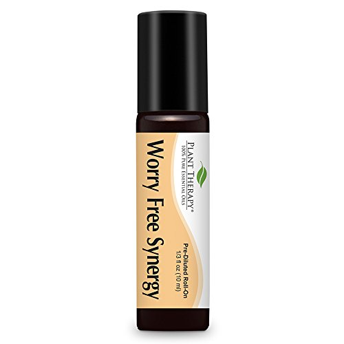 Worry Free (Stress Free) Synergy Pre-diluted Essential Oil Roll-on 10 Ml (1/3 Fl Oz). Ready to Use! (Blend Of: Lavender, Marjoram, Ylang Ylang, Sandalwood, Vanilla and Roman Chamomile)