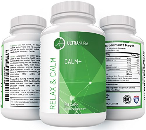 CALM+ Natural Anxiety Relief Nootropics - BUY 3 GET 20% OFF | BUY 2 GET 10% - Relaxation and Stress Reduction - 100% Herbal Stress Management & Anti Anxiety - with Biotin, Gaba, Magnesium & L-Theanine