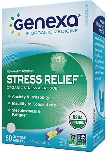 Genexa Stress & Anxiety Relief: Certified Organic, Physician Formulated, Non-Habit Forming, Natural, Non-GMO, Homeopathic Stress Supplement. Promotes Calmness & Relaxation (60 Chewable Tablets)