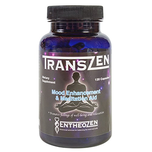 TransZen Mood Enhancement and Meditation Aid, Reduce Stress and Anxiety, Anti Depression, with 5HTP, Addiction Recovery, Mental Focus and Energy. 120 capsules Entheozen