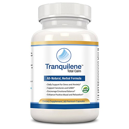 Natural anxiety relief treatment by Tranquilene Total Calm. Best GABA and Serotonin mood support supplement. Fast acting anti anxiety formula for better sleep, stress relief or panic attacks naturally 60 count