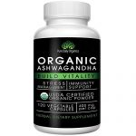 Organic Ashwagandha – Best Natural Adrenal Supplement for Fatigue, Calm Nerves and Anti-Anxiety Relief – Pure Anti-Stress Herb Root which Lowers Cortisol Levels – 400mg Easy Swallow 120 Veg-Caps
