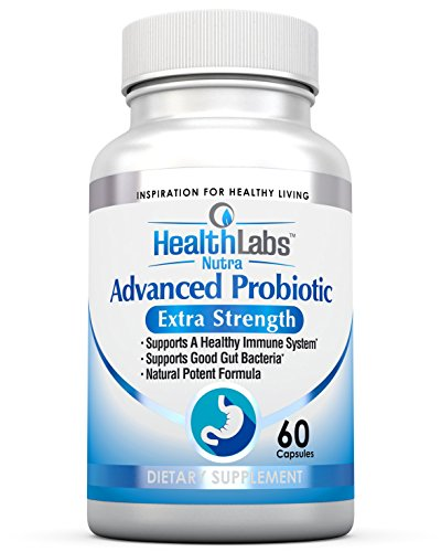 Advanced Probiotic Extra Strength Supplement for a Healthy Immune System, Restores Good Bacteria, Relieves Leaky Gut, Nausea, Indigestion, Irritable Bowel Syndrome - Supports Your Immune System, for Women, Men and Kids, 60 Caps - 100% Potent Formula