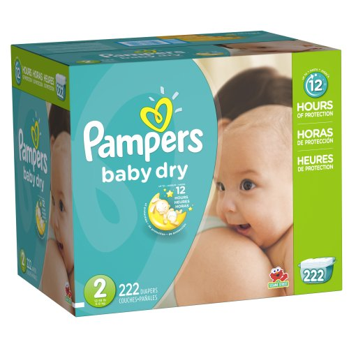 Pampers Baby Dry Diapers Size 2, 222 Count