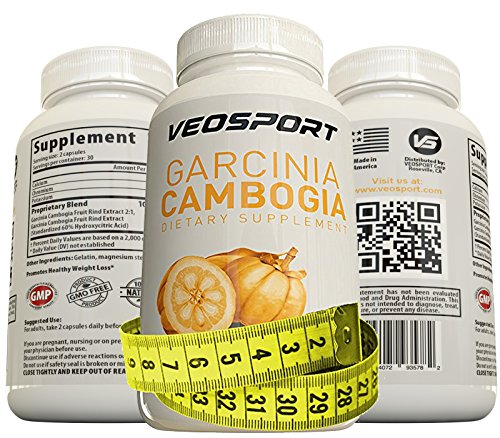 VEOSPORT Garcinia Cambogia Extract - Proven Appetite Suppressant with HCA. Promotes Healthy Weight Loss. 60 Capsules, Made in the USA, used By Real Athletes. Quality Weight Loss Supplement.