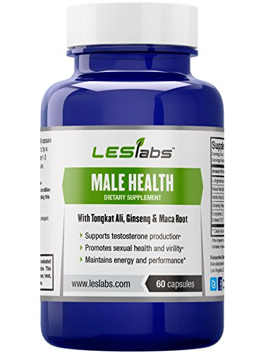 Male Health - Natural Testosterone Booster for Sexual Health and Libido, Endurance and Performance - With Tongkat Ali, Ginseng Panax and Maca - 60 Vegetarian Capsules