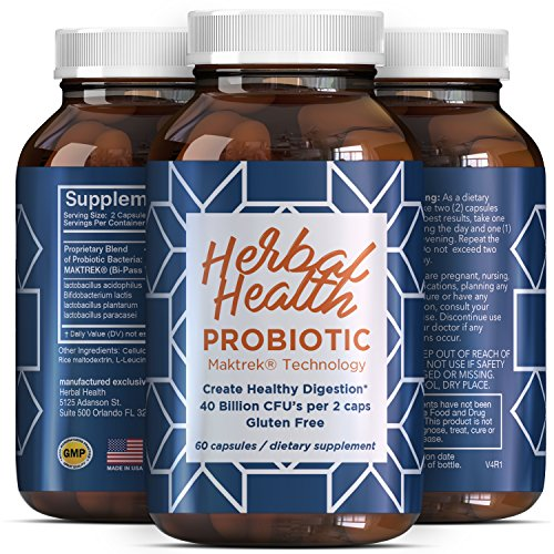 Best Probiotic Supplement for Adults - Natural Blend of Good Bacteria - 40 Billion CFUs per Serving - Improves Digestion - Helps Provide Relief from Bloating & Indigestion - 60 Capsules