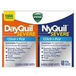 Vicks NyQuil and DayQuil SEVERE Cold and Flu Relief Caplets, 48 Caplets(32 DayQuil + 16 NyQuil)