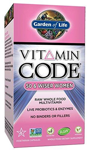 Garden of Life Multivitamin for Women - Vitamin Code 50 & Wiser Women's Raw Whole Food Vitamin Supplement with Probiotics, Vegetarian, 240 Capsules