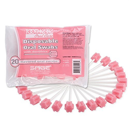 Toothette® Oral Care Swabs with Dentifrice - Each (1 bag of 20 swabs)