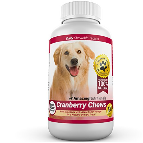 Amazing Cranberry for Dogs Pet Antioxidant, Urinary Tract Support Prevents and Eliminates UTI in Dogs, 120 Chews