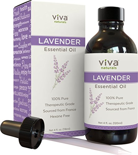 Viva Naturals French Lavender Essential Oil, 4 fl oz - 100% Pure & Therapeutic Grade for Relaxation, Sleep & Happy Mood