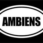 6″ die cut white vinyl AMBIENS oval Euro style vinyl decal sticker