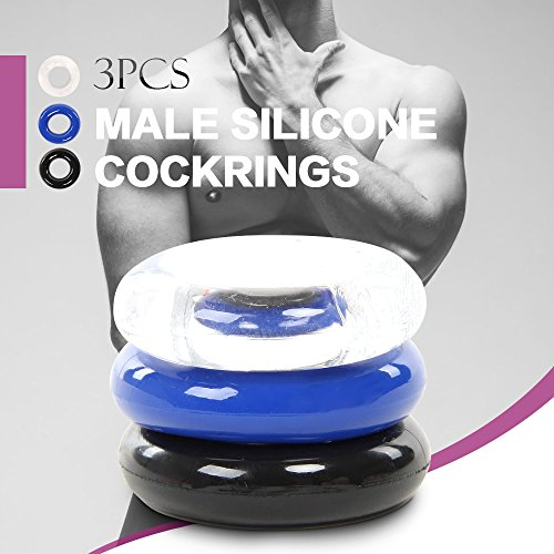 Petbly(TM) 3pcs Male Silicone Cockrings p e n i s Rings Stronger Harder Erections Longer Pleasure for s e xual Life