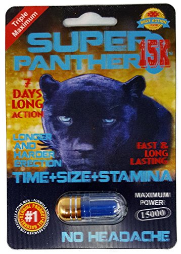 Triple Maximum SUPER PANTHER 15K - Fast & Long Lasting - BEST Male Sex Performance Enhancement Pill - (5 Pills) (Super 15K)