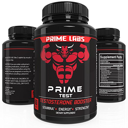 Prime Labs Men's Testosterone Supplement (60 Caplets) – Natural Stamina, Endurance and Strength Booster – Fortifies Metabolism – Promotes Healthy Weight Loss and Fat Burning