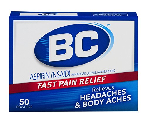 BC Aspirin Fast Pain Relief Powder - Quickly Relieves Pain Due to Headaches, Body Aches, and Fever - Contains Caffeine - 50 Powders