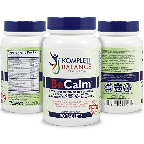 BeCalm | Natural Stress Support & Anti Anxiety Relief Remedy - Herbal Serotonin Booster For Positive Mood - Calm Nerves, Improve Sleep - Vitamin B Complex, Valerian Root, Chamomile & More