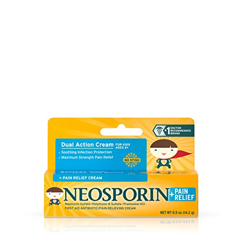 Neosporin First Aid Antibiotic + Pain Relief Cream For Kids, .5 Oz (pack of 3 )