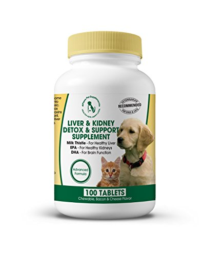 Milk Thistle Liver & Kidney Supplement for DOGS and CATS with DHA, EPA, Silymarin, and Vitamin B (B1 B2 B6 B12) to Prevent Liver and Kidney Disease - 100 Chewable Treats - Bacon Cheese Flavor