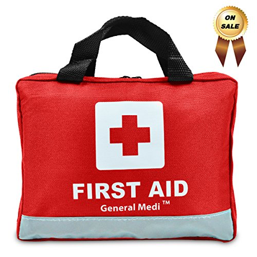 309 Piece Professional First Aid Kit for Medical Emergency - Night Reflective Bag - Includes Emergency Blanket, Bandage, Scissors for Home, Car, Camping, Office, Boat, and Traveling