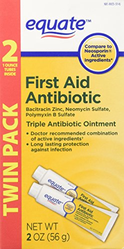 Equate Triple Antibiotic First Aid Ointment, 1 oz.(Compare to Neosporin Active Ingredients) Twin Pack