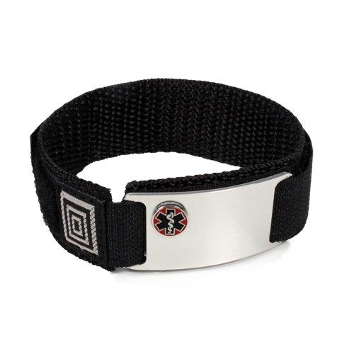 TAKING PREDNISONE Sport Medical ID Alert Bracelet with BLACK Velcro wrist band.