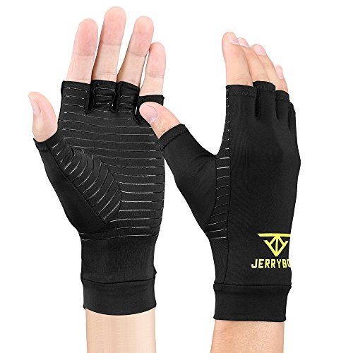 Jerrybox Arthritis Gloves Fingerless Copper Gloves Compression Medical Support Gloves (L)