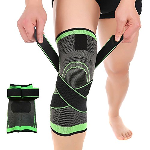 HipStone Knee Sleeve Green XL  3D Weaving Knee Brace Breathable Support for Running, Jogging, Sports, Joint Pain Relief, Arthritis and Injury Recovery, Single Wrap, X-Large