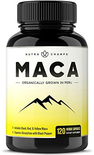 Organic Maca Root Powder Capsules - 1000mg Peru Grown - Energy, Fertility & Sex Health Supplement for Men & Women - Vegan Pills - Gelatinized + Black Pepper Extract for Superior Results