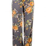 EIFFTER Women's High Waist Casual Floral Print Drawstring Wide Leg Pants (Large, Yellow)