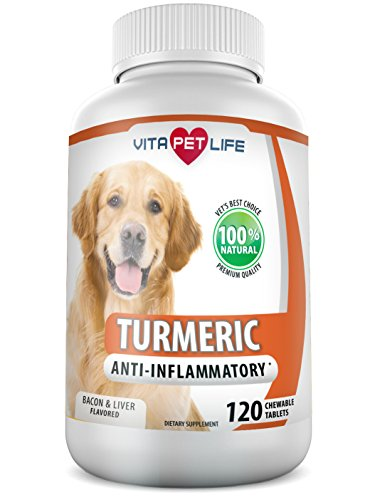 Turmeric for Dogs, Curcumin Anti Inflammatory Supplement, Antioxidant, Promotes Pet Mobility, Pain Relief and Brain Health, Prevents Joint Pain, Inflammation and Arthritis, 100% Natural. (120 chews)