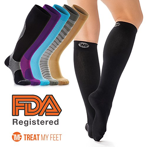 Compression Socks for Men & Women, Soft & Comfortable Knee High Compression Stockings Help Relieve Leg & Foot Pain - Graduated to Boost Circulation & Reduces Edema Swelling, Runner Recommended - XL