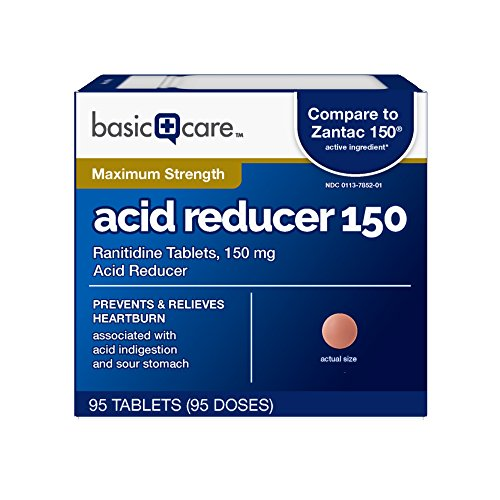 Basic Care Acid Reducer Ranitidine Tablets, 95 Count