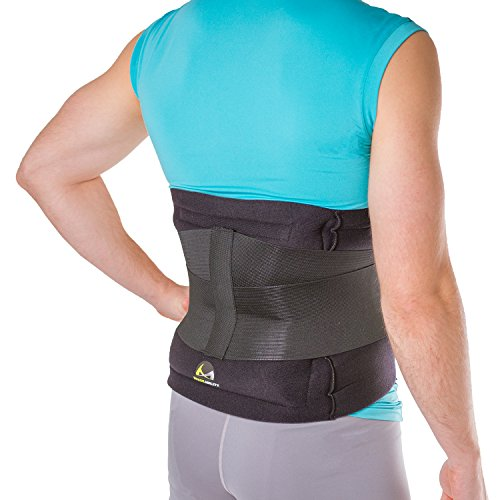 BraceAbility Hot & Cold Lower Back Wrap | Soft Brace with 2 Heat / Ice Therapy Gel Packs for Backache Pain Relief, Sore or Stiff Muscles, Spasms, Strains & Sprains (Fits up to 48