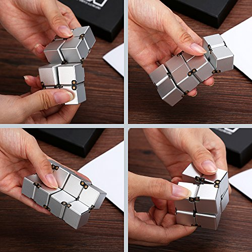 Lijuan Infinity Cube Fidget Aluminium Alloy Fidget Cube Spinner Toy- Pressure Reduction Toy for Stress Relief Anti Anxiety