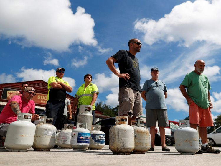 People queue to buy propane in Myrtle Beach, South Carolina, ahead of the arrival of Hurricane Florence