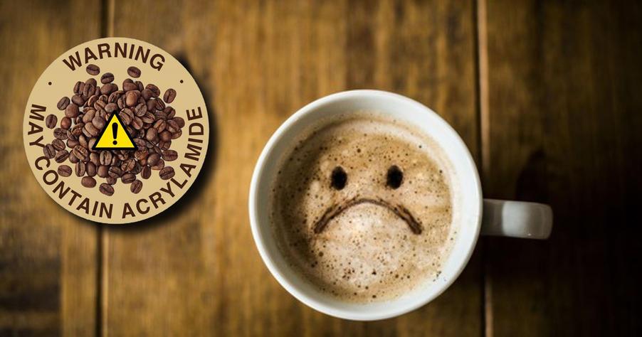 sad coffee with warning label
