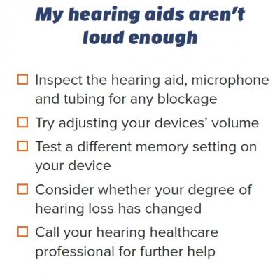 "Checklist for ""My hearing aids aren't loud enough"" from troubleshooting handout"