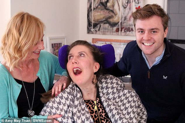 She is pictured with her aunt Julie Martin and cousin Tom Martin at the Marillac Care centre. The pair set up the Amy May Trust, which shares updates on her journey and campaigns for public awareness on the seriousness of nut allergies, including on airlines