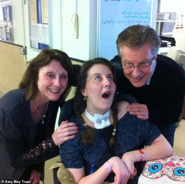 Ms Shead (pictured in hospital with her parents) is now unable to see or speak properly