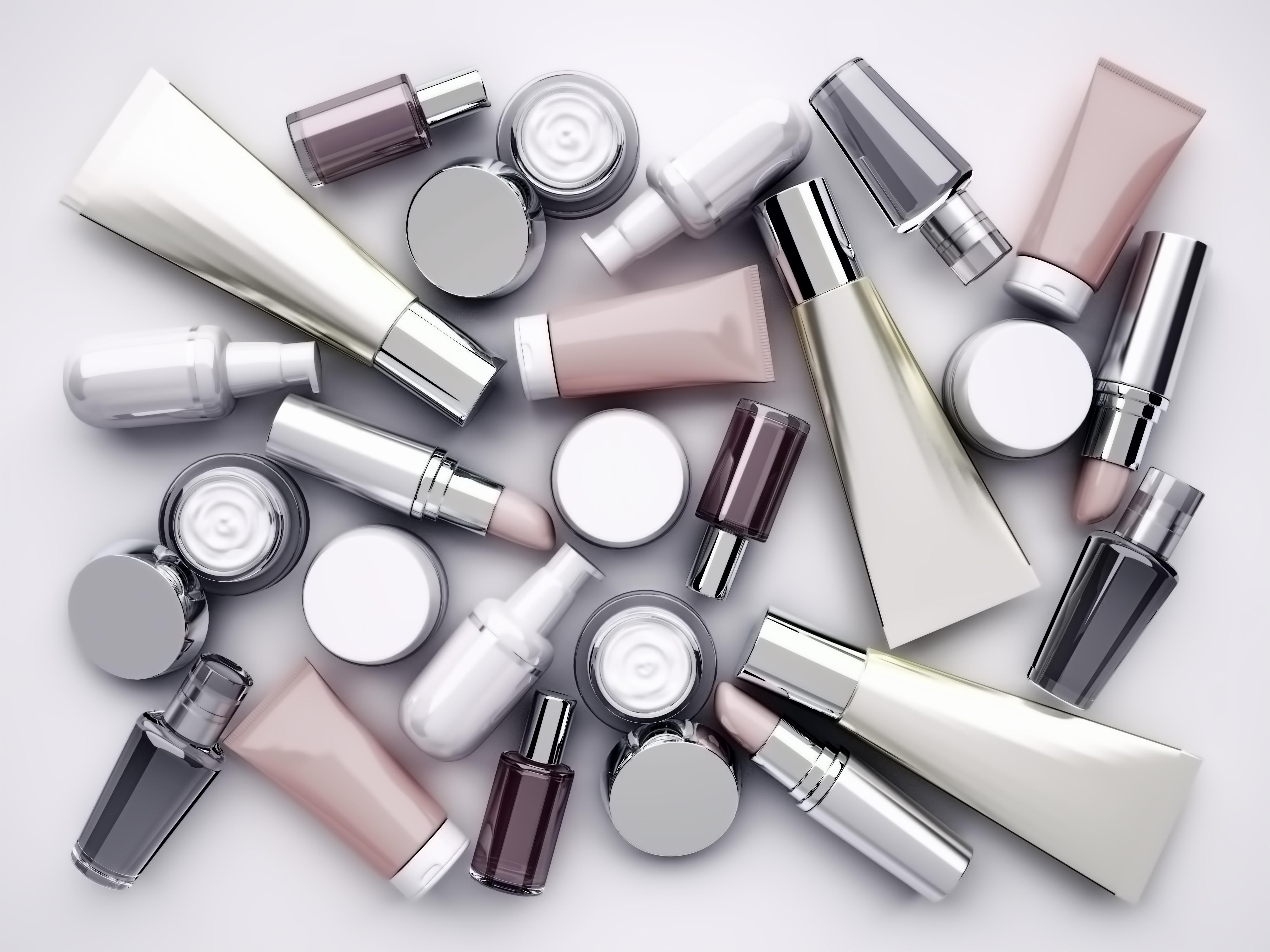assortment of cosmetic tubes and containers
