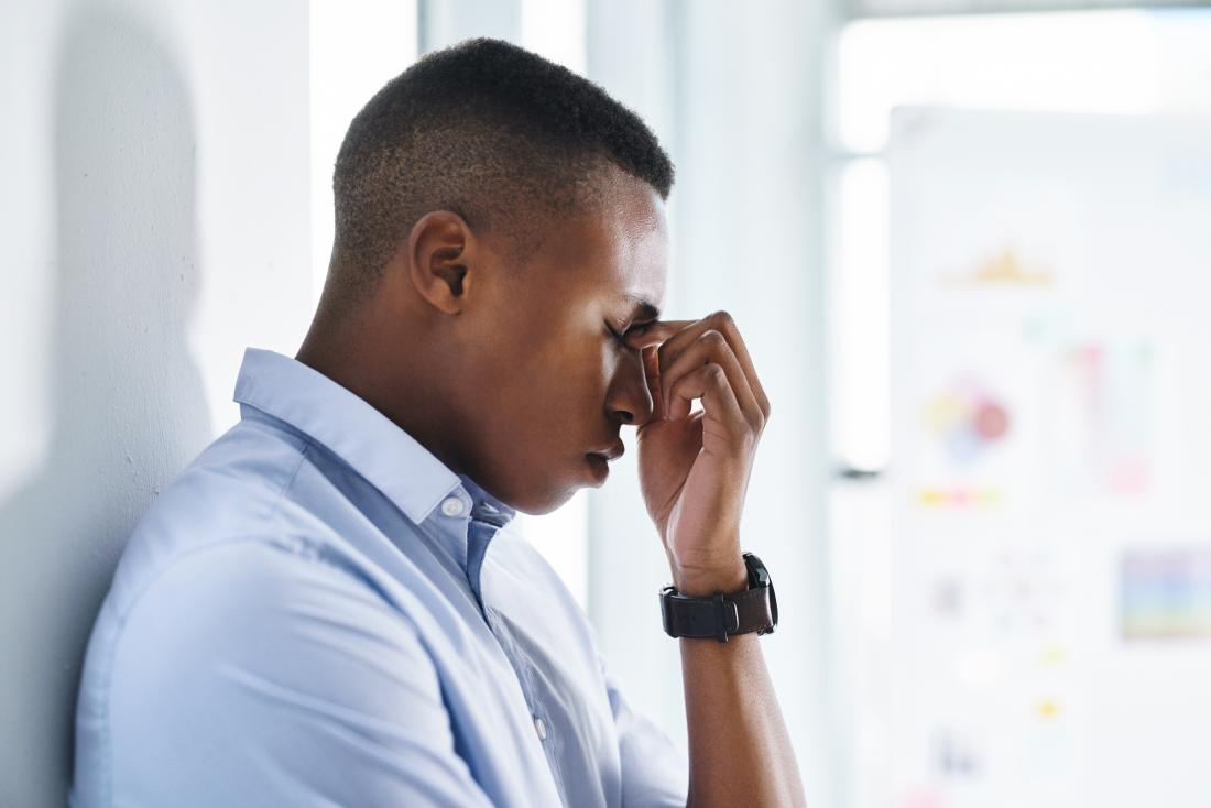 stressed man with headache at work