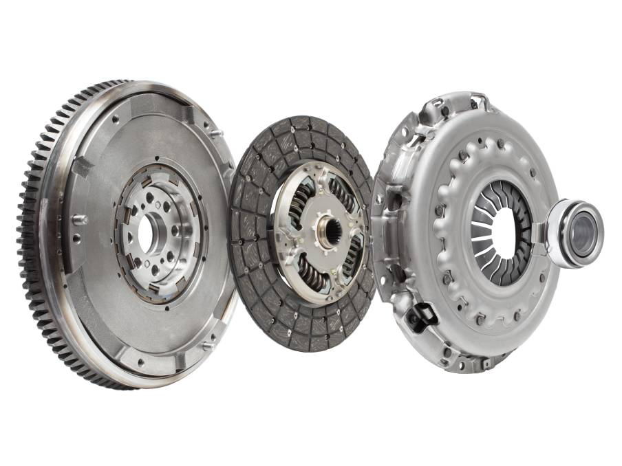 The flywheel, clutch friction plate, clutch pressure plate, and thrust bearing. Photo: Shutterstock.