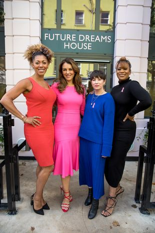 The actress was joined by TV doctor Zoe Williams (left) - who will be leading a virtual step-by-step breast demonstration this month